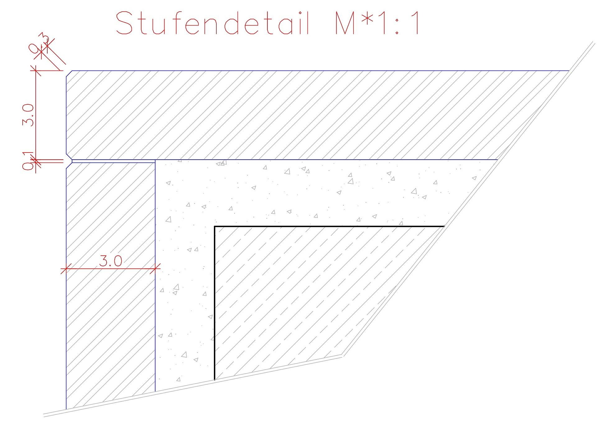Autocad-Zeichnung eines Stufendetails